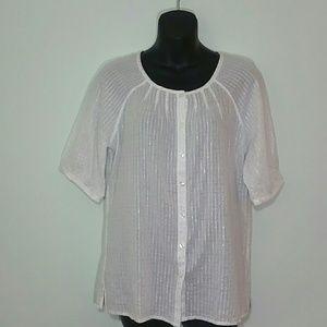 Chicos White Shimmer Short Sleeve Blouse SZ 1